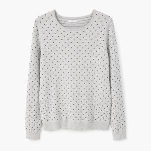 mango • raised mini dot pattern gray sweater